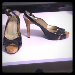 Black and cork sling back heels